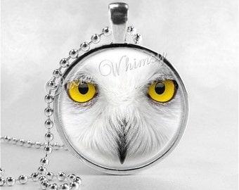 SNOWY OWL Necklace, Snowy Owl Pendant, Snowy Owl Jewelry, Owl Jewelry, Owl Charm, Glass Photo Art Necklace