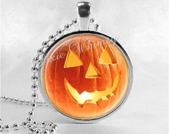 HALLOWEEN Necklace, Jack O Lantern Necklace, Lighted JOL, Jack O Lantern, JOL, Pumpkin, Glass Photo Art Necklace, Halloween Jewelry