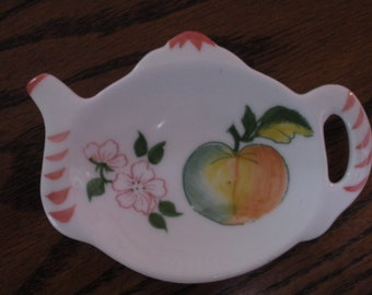 Vintage China Teapot Tea  Bag Holder with Hand-Painted Peach and Blossoms