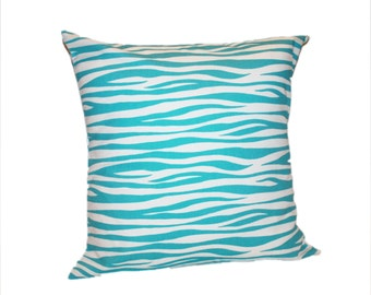 Zibra Print Decorative Toss Pillow Cover - Any Size Available - Turquoise Accent Pillow in Girlie Blue