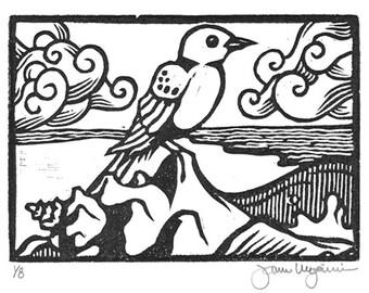 Bluebird and Ocean Original Block Print