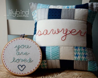 "Coordinating Pillow Cover and Hoop BUNDLE: 14"" pillow cover and 6"" You Are Loved Hoop"