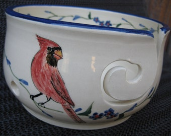 Cardinal yarn bowl for knitting or crochet  Free Shipping