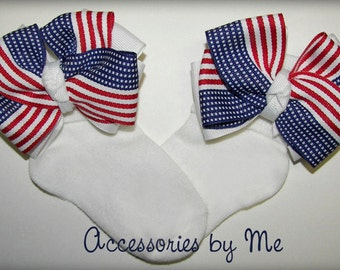 Patriotic Bow Socks, Girls US Flag Socks, Toddler Flag Bow Socks, Baby US Flag Socks, Infant Newborn Patriotic Socks, July 4th Pageant Socks