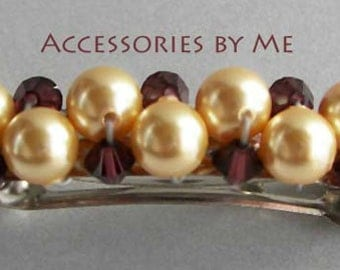 Gold Hair Barrette, Burgundy Wine Clip, Burgundy Red Wine Beaded Barrette, Wine Gold Faux Pearls Austrian Crystals Clip, Flower Girls Clips