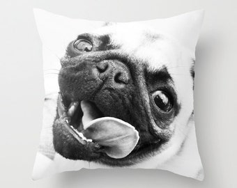 Pug Pillow Cover - Dog Pillow Cover - Pug Pillow Case - Tongue Happy Pug Pillow - Dog Throw Pillow 16x16 18x18 20x20 Pillow Cover