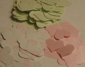 225 textweight confetti hearts..pink...pastel green....pattern