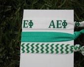 3 Pack Alpha Epsilon Phi Sorority hair ties Green White Chevron rush  bag bid Gift Gifts