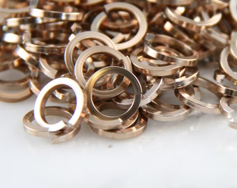 18 ga 1/4, 200 Square Champagne Anodized Aluminum Chainmail Jump Rings