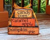 candy corn , caramel apples, pumpkin pie-Handmade wooden blocks
