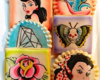 6 Vegan Tattoo Painted Sugar Cookies