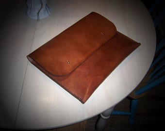 Leather Document Case, Folio, Attache...Rounded Corners and Button Stud Closure.  Full Grain Veg Tan Leather. Handmade in my shop.