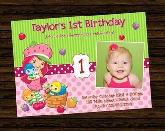 Custom Strawberry Shortcake Birthday Party Invitations - DIY Printable File