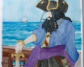 "Blackbeard the Pirate. Original Watercolor Painting by Joyce Dorsa 11"" x 14""  Art"