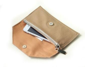 Beige  Women's Leather wallet ,Handmade Wallet ,Iphone wallet ,Leather Iphone 5 wallet