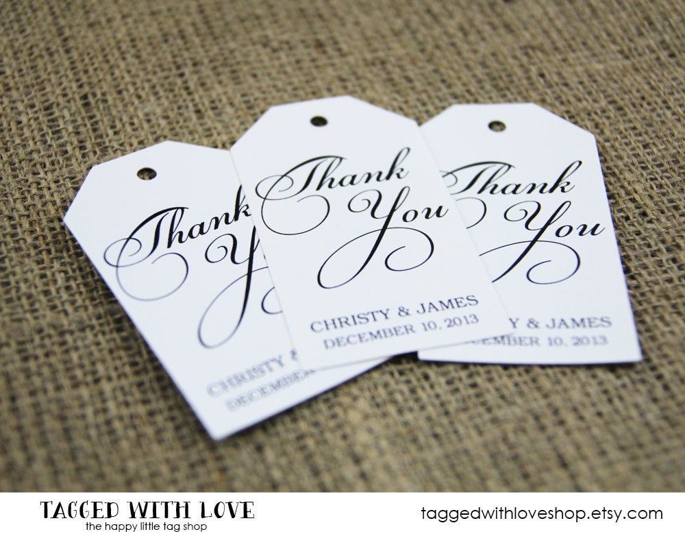 Thank You Tag SMALL Size Wedding Favor Tag by TaggedWithLoveShop