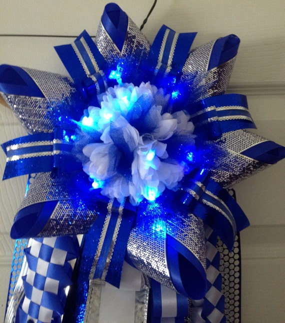 Homecoming Mum With Led Lights Blue Silver Ready To By