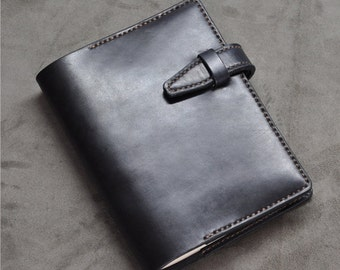 A5 Leather Journal Diary Notebook /loose-leaf notebook/ notepad/black vegetable tanned leather