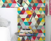 "Colorful mosaic Pattern - self adhesive DIY wallpaper, home decor, Peel n Stick 20.9""x8' - G041"