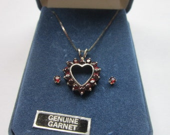 Vintage Italy Sterling Silver & Garnet Chain Necklace Heart  Pendant Earrings Set