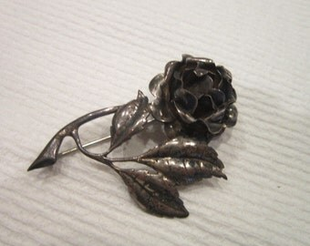 Wonderful Antique Sterling Silver Large Rose Branch & leaves Brooch Super