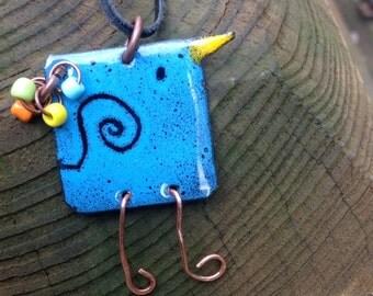 Sgraffito enamel bluebird pendant