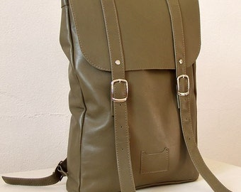 Olive green middle size leather backpack rucksack / To order / Olive green Leather Backpack / Womens backpack / Christmas Gift