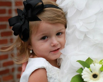 Large Black Bow Headband
