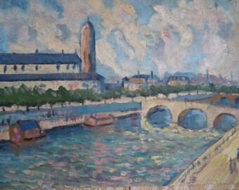 Oil painting river Seine Paris GEN 1948 working suburb industrial landscape manufactories chimneys silo public baths on the river France