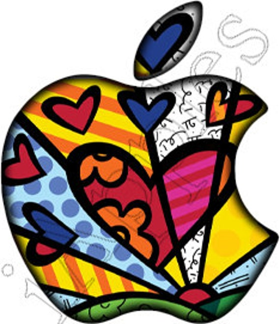 Translucent Brito Hearts Apple LED Logo Overlay MacBook - Custom vinyl decals for macbook pro