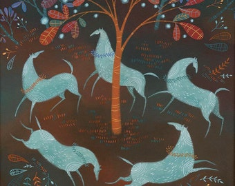 Woodland Carousing.  Open edition Giclee print by Tracie Grimwood.