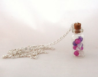 Purple, Pink and Clear Glass Beads | Bottle Necklace