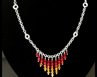 Sterling Silver and Swarovski Crystal Chainmaille Necklace - Fire - Lava - Volcano - Ombre
