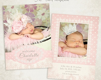 Birth Announcement Template -  5x7 Photo Card - Sweet Baby 011 - ID089, Instant Download
