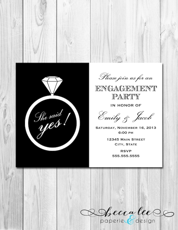 Items similar to Engagement Party Invitation She Said Yes Ring – Classic Party Invitations