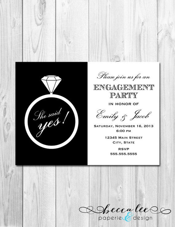 Items similar to Engagement Party Invitation She Said Yes Ring