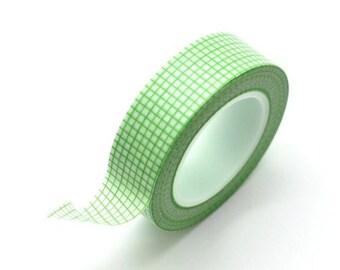 Washi Tape Paper Masking Tape - Green Grid
