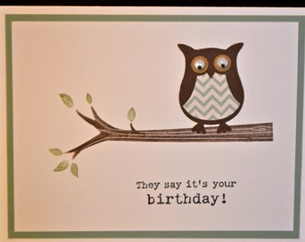 owl theme birthday  etsy, Birthday card