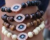 Dark & Baby Blue Evil Eye Bracelet/ Rose Gold, Choice of  Wood Tone Beads