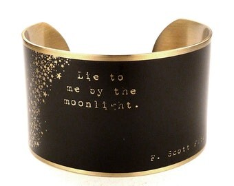 F. Scott Fitzgerald Quote Cuff Bracelet, Literary Jewelry, Classic Literature, Book Quotes