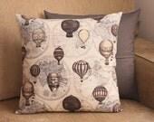 ON SALE: Handmade Vintage Hot Air Balloon Cotton Cushion Pillow With Zip Closure
