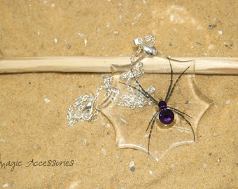 Spider on web necklace. Purple crystal.