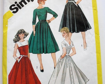 Vintage 1980s Women's Swing Skirt Button-Back Dress Sewing Pattern Size 12 Simpilicty 6027