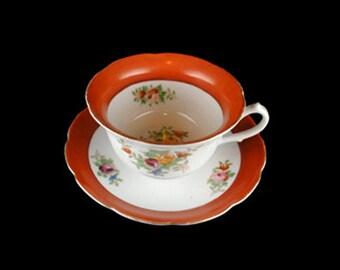 Vintage Coronation China Scalloped Orange Trim 3 Pc. Set - Japan