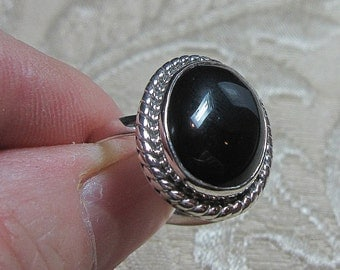 Black Onyx Sterling Silver Ring Size 9