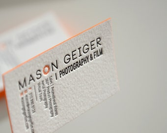 Letterpress Business Cards - Cotton Paper - Customized - 2 colors - Color Edges