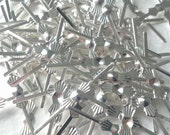 33mm Silver Tone Bowtie Chandelier Pins Crystal Connectors Pack of 24 FREE SHIPPING USA