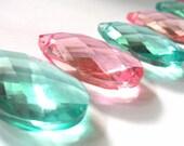 6 Chandelier Crystals Diamond Cut Almond Teardrops Antique Green Pink Prisms Light Aqua Aquamarine Shabby Chic Beach Decor