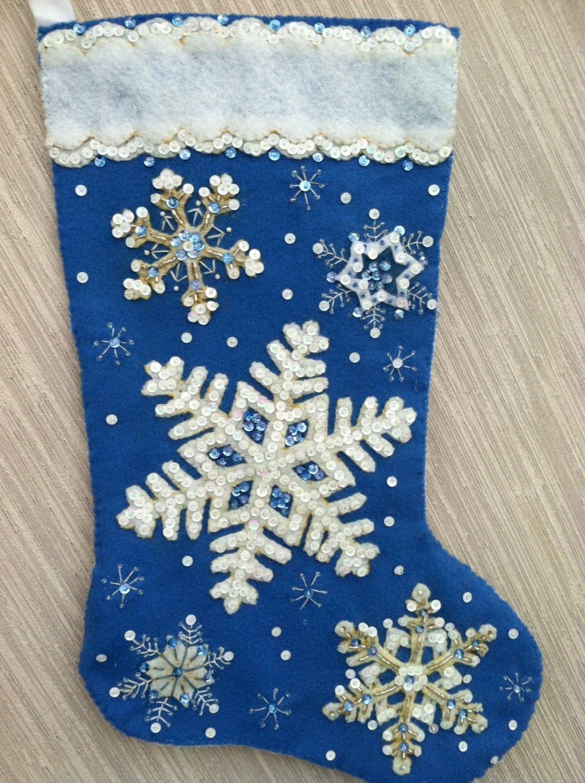 glittering snowflake completed handmade felt christmas. Black Bedroom Furniture Sets. Home Design Ideas