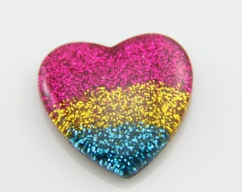 6 pcs of resin  heart cabochon sparkle shinny rain bow color-27x27mm